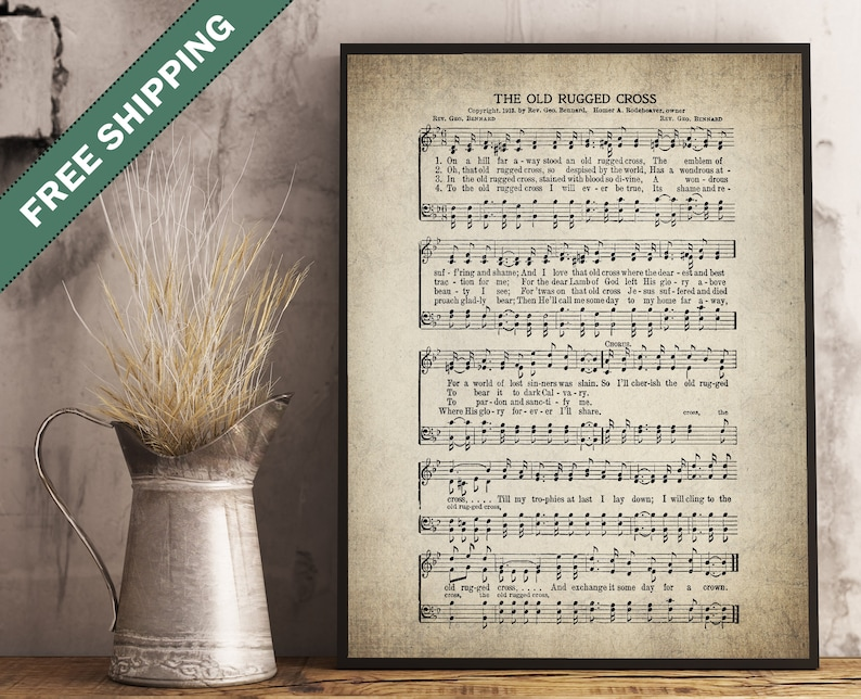 The Old Rugged Cross Hymn Print - Sheet Music Art - Hymn Art - Hymnal Sheet  - Wall Art -Home Decor - Music Sheet - Print - #HYMN-P-013