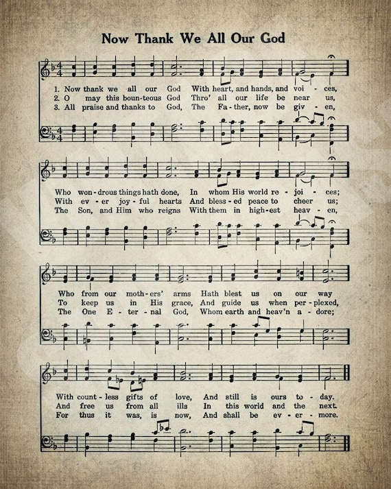 Now Thank We All Our God Hymn Print - Sheet Music Art - Hymn Art - Hymnal  Sheet - Home Decor - Music Sheet - Print - #HYMN-P-051