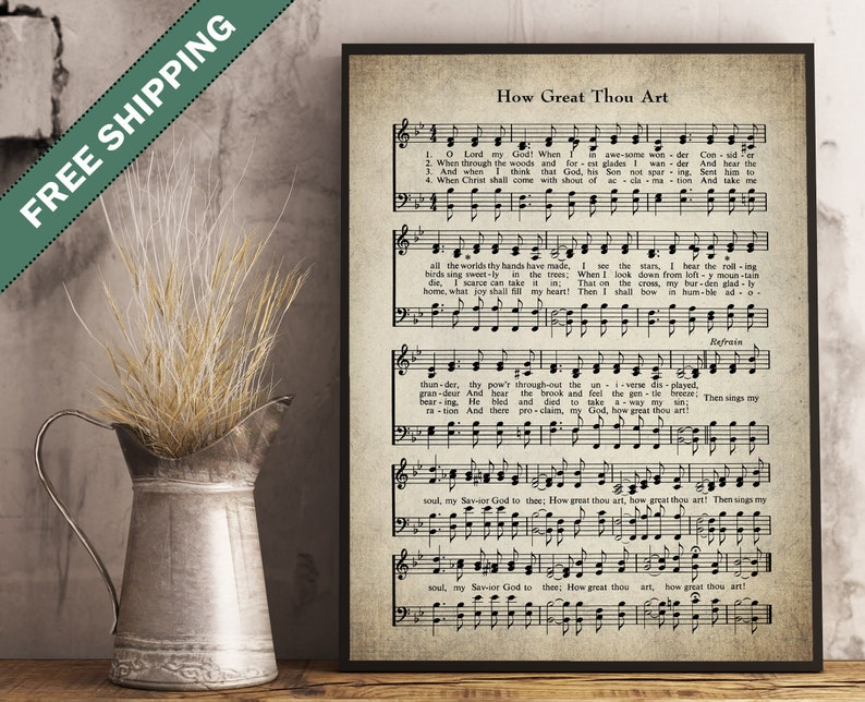 How Great Thou Art Hymn Print - Sheet Music - Large Wall Art - Hymn Art -  Hymnal Sheet - Home Decor - Music - Hymn Lyrics Bible #HYMN-P-034