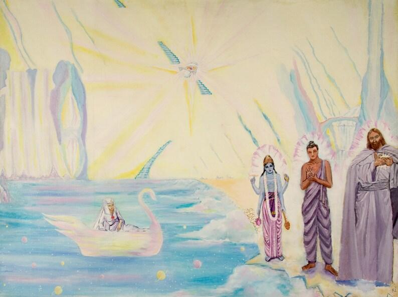 GICLEE PRINT Buddha Jesus and Vishnu Art Print Celestial image 0