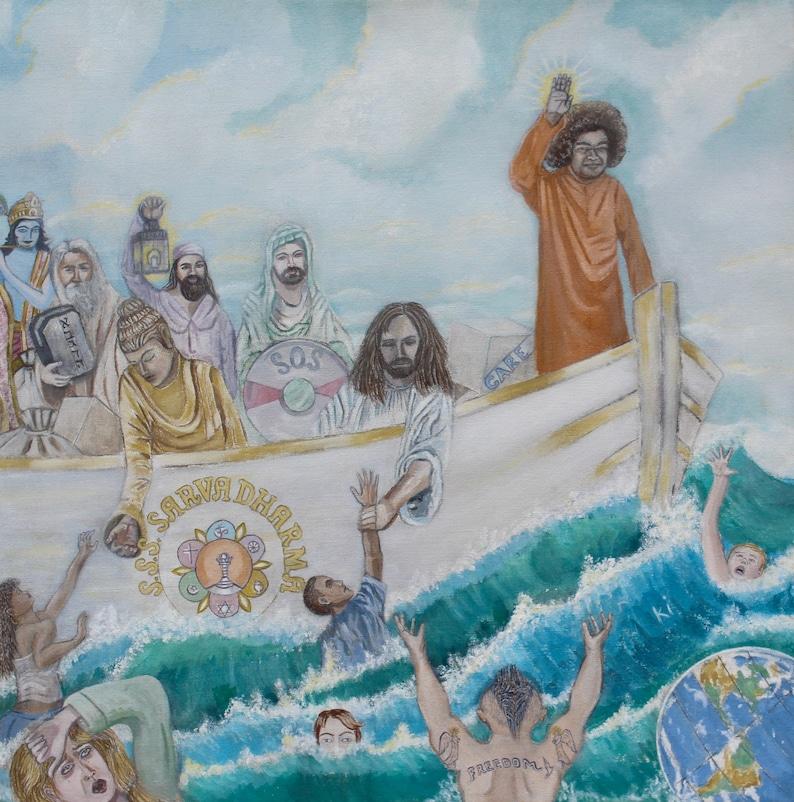 GICLEE PRINT Sathya Sai Baba: S.S.S. Sarva Dharma Unity of image 0