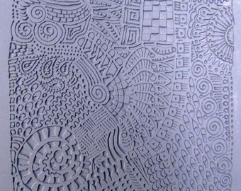"""Texture Plate, for Metal Clay / Polymer clay, """"Doodle"""", Original Design by Barbara Becker Simon"""