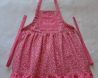 Pretty Pink Flowers Girls Personalized Apron