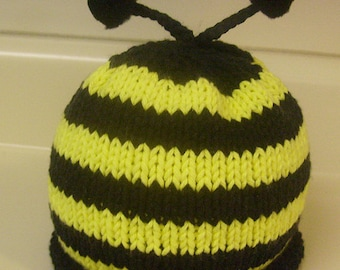 Hand Knitted Bumble Bee Hat
