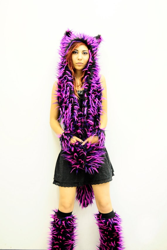 Animal Hat With Paws Lilac Wolf With Cute Owl Lining Pink Faux Fur