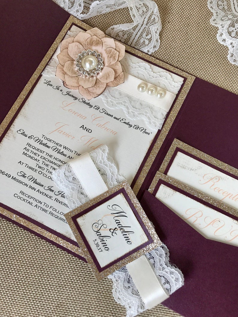 Image 0: Vintage Wedding Invitations With Lace At Websimilar.org