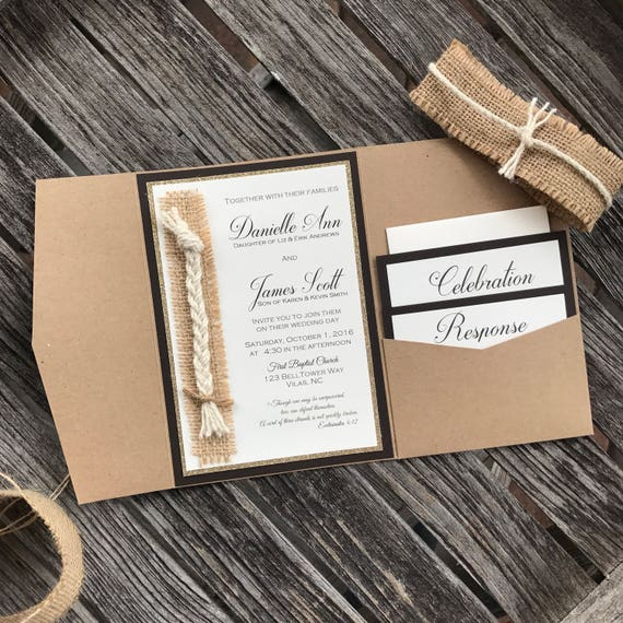 50 100 RUSTIC Western Rope Knot Any Font Color PERSONALIZED WEDDING Invitation