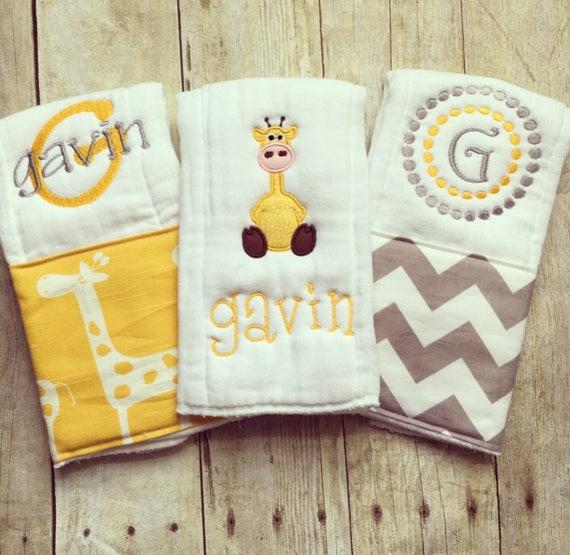 Personalized baby boy burp cloths safari giraffe baby gift negle Image collections