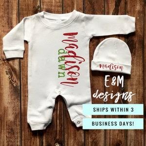 Toddler Christmas Pajamas Baby Monogrammed Holiday Truck Sleeper and Hat Monogram Newborn Romper Boys Coming Home Christmas Set Bib Set