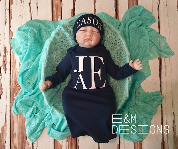 Boy Coming Home Outfit  Monogrammed Baby Boy Gown  Navy Set  Navy Take Home Outfit Gown  Boys Shower Gift  Newborn Outfit Set Fishtail