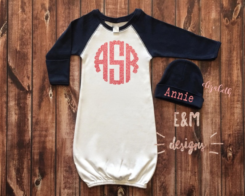 Girls Coming Home Outfit Monogram Baby Girls Raglan Layette Navy and Coral Glitter Newborn Monogrammed Gown and Hat Set Baseball Gown