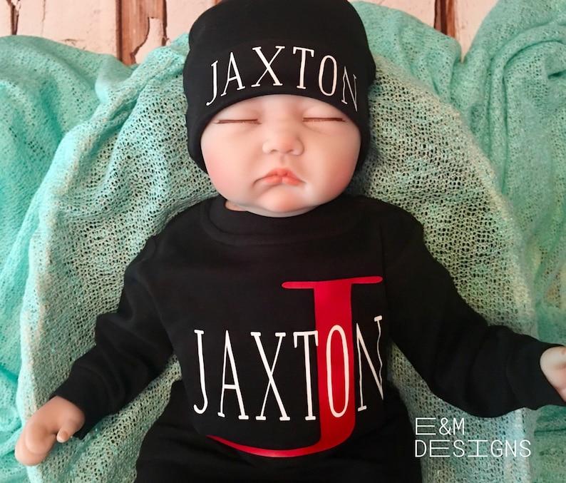 Monogrammed Baby Sleeper Set Baby Boy Coming Home Set Long Sleeve Sleep Set Boy Monogram Set Newborn Boy Romper