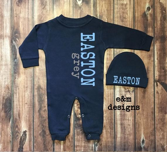 Baby Boy Coming Home Set Boy Monogram Set Long Sleeve Sleep Set Monogrammed Baby Sleeper Set Navy and Gold Metallic Newborn Boy Romper