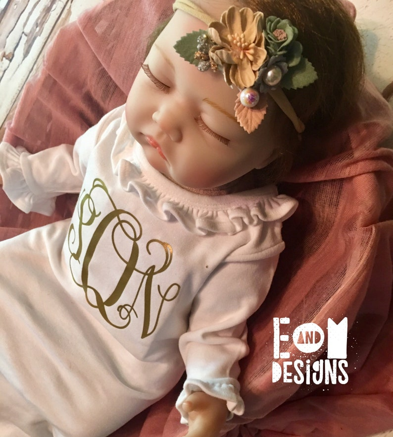 Monogrammed Floral Headband Set Newborn Baby Girl Layette Set White Ruffle Gown and Rose Gold Baby Girls Coming Home Gown Outfit