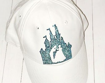 White Denim Baseball Cap - Dad Hat - Swarovski Glitter Sparkly Rhinestone  Crystal - Disney Cinderella - Adjustable Custom - Ladies Trucker e93ba1c7a050