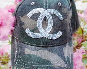 e20d4a77200 Distressed Camo Denim Baseball Cap - Dad Hat - Swarovski Glitter Sparkle  Glitter Rhinestone Crystal Bling Adjustable - Ladies Custom Trucker