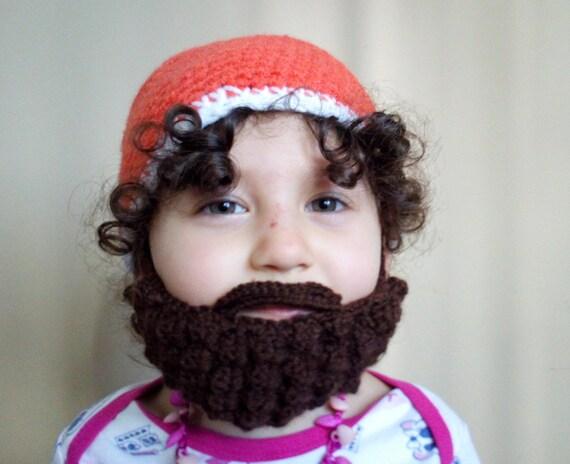 Crochet Hat with BeardBaby HatBeard Beanie Baby Boy Hat  d6779e149ed