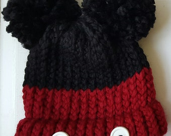 Mickey Mouse Knit Hat Baby Small Toddler Size |Made to Order