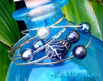 Tahitian Black Pearl Bangle, Sterling Silver bangle, hammered bangle, black pearl bracelet