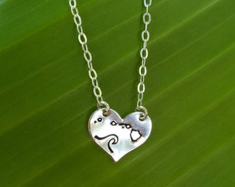 Hawaiian Island Wave Heart Necklace, stamped, engraved, heart shaped necklace