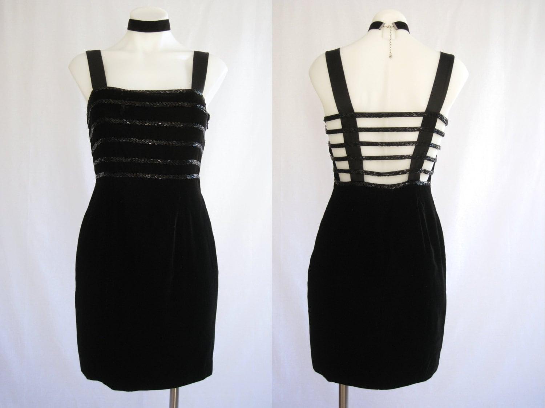 a70fe47ed27a 90s Black Velvet & Sequin Open Back Mini Dress DELLA ROUFOGALI   Etsy