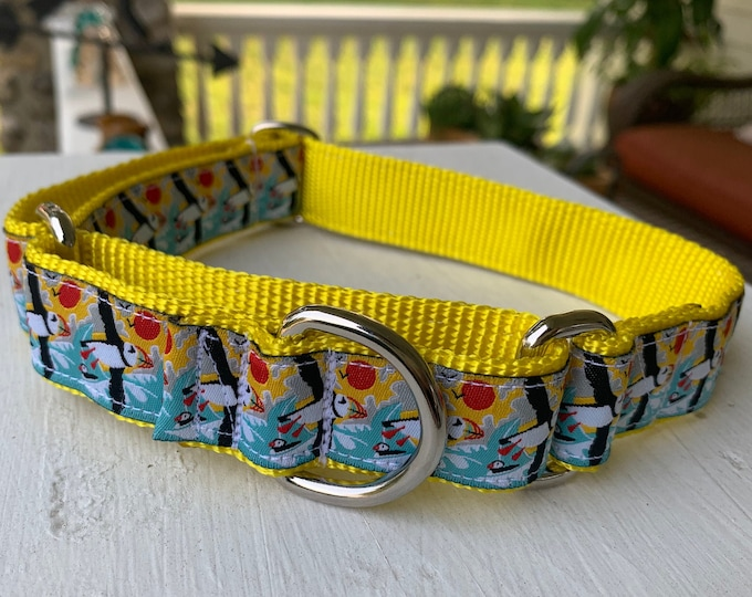 """Happy Puffins - 1"""" Martingale Collar"""