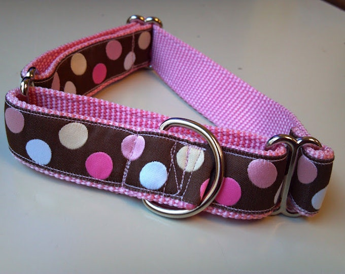 "Blondie's Pink Polka Dots 1"" Martingale Collar"