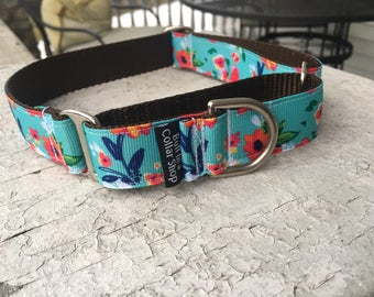 "Watercolor Poppies on Brown   1"" Martingale Collar"