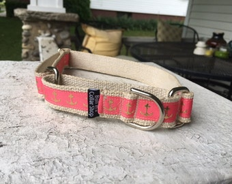 "Golden Anchors on Hemp 1"" Martingale Collar"