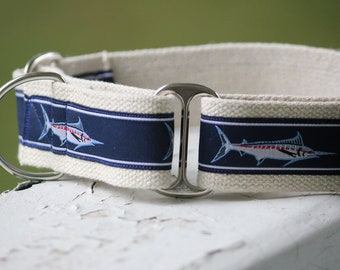 "Kane's Marlins on Hemp- 1.5"" Martingale Collar"