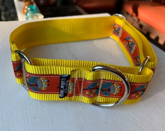 "Folk Blooms on Yellow -  1.5"" Martingale Collar"