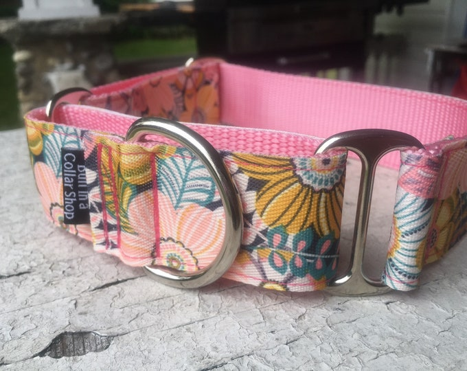 """Chloe's Tropical Blooms on Pink -  1.5"""" Martingale Collar"""
