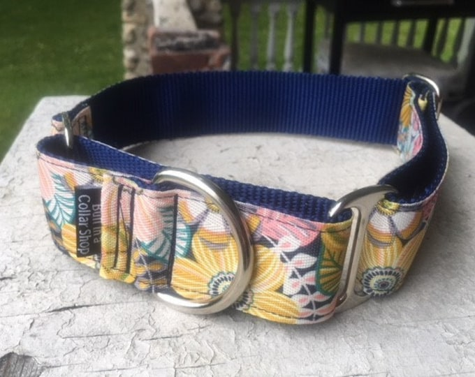 "Chloe's Tropical Blooms on Navy -  1.5"" Martingale Collar"
