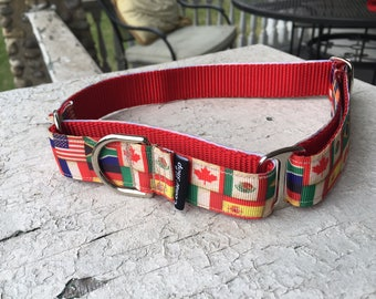 "Scarlett's Flags - 1"" Martingale Collar"