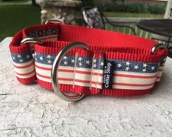 "Vintage Stars & Stripes - 1.5"" Craft Martingale Collar"