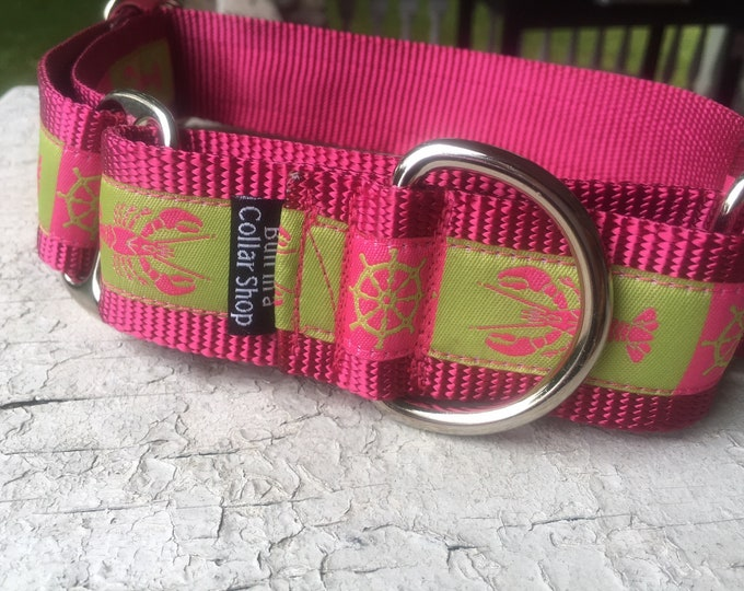 "The Pink Lobstah - 1.5"" Martingale Collar"