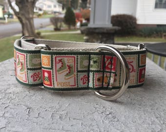 "Cletus' Christmas Stamps - 1.5"" Martingale Collar"