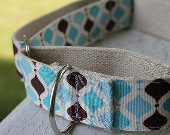 "Kane's Blue Geo on Hemp 1.5"" Martingale Collar"
