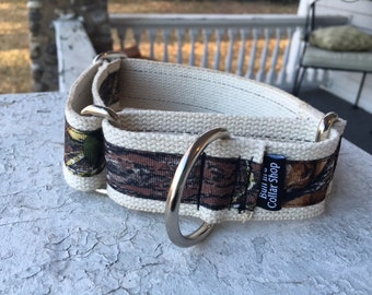 "Moose's Mossy Oak Camo on Hemp - 1.5"" Martingale Collar"