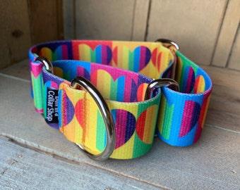 """Rainbow Hearts - 1.5"""" Plain Nylon"""