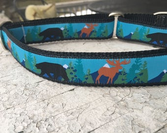 "Bear and Moose 1"" Martingale Collar"