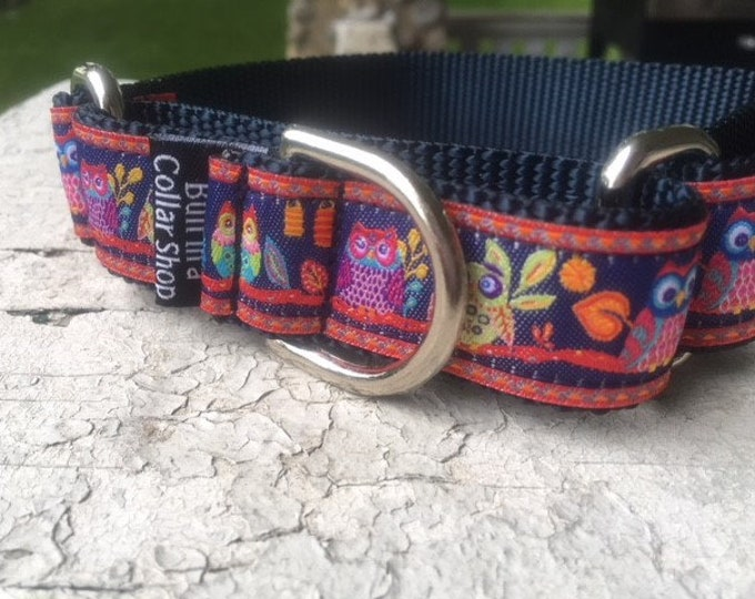 """Owls at Dusk on Navy - 1"""" Martingale Collar"""