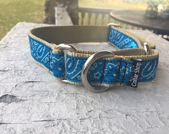 "Blue Bandana - 1"" Martingale Collar"