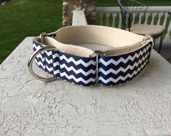"Dewey's Chevron on Hemp 1.5"" Martingale Collar"