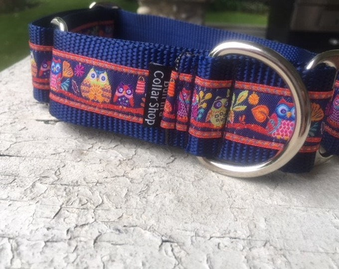 """Owls at Dusk on Navy - 1.5"""" Martingale Collar"""