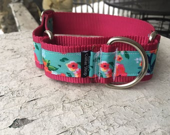 "Ginger's Poppies on Raspberry -  1.5"" Martingale Collar"