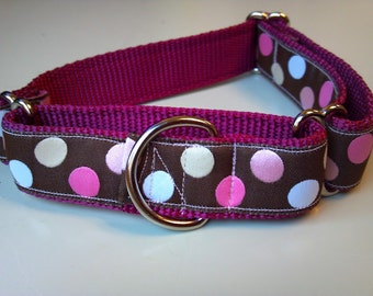 "Bailey's Raspberry Polka Dots 1"" Martingale Collar"