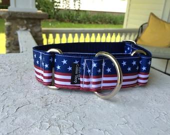 "Hank's Stars & Stripes 1.5"" Martingale Collar"
