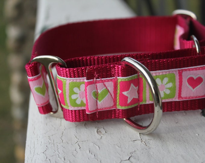 "MG's Hearts & Stars 1.5"" Martingale Collar"