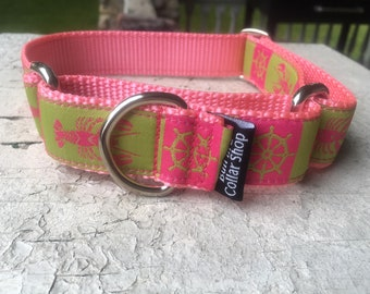 "The Pink Lobstah - 1"" Martingale Collar"